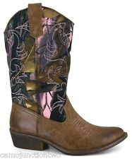 Women Western Camo Cowgirl / Cowboy Boot Brown w/ Pink Stitch Compares Mossy Oak