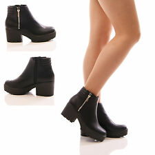 LADIES TRUFFLE ANKLE BOOTS CHUNKY PLATFORM LOW BLOCK HEEL ZIP UP SHOES SIZE