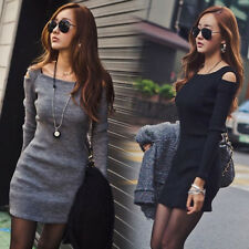 Women's Fashion Cute Clothes OL Knitwear  Autumn Winter mini Party dress Tops