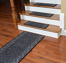 Dean Washable Non-Skid Carpet Stair Treads w/Landing Runner - Garden Path Black