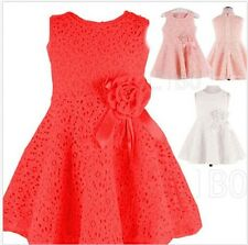 Kids Girls Princess Party Wedding Christmas Flower Solid Lace Skirt Dresses Gown