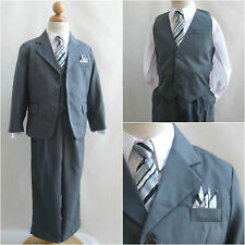 LTO Grey pinstripe toddler teen boy wedding pageant recital party formal suit
