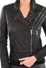 Ladies Fashion Leather Motorcycle Biker Jacket With Studded collar, Buckles