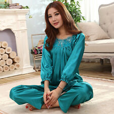 NEW Womens Silk Pajamas Set Sleepwear&Robes Nightdress Nightgown P051  L,XL