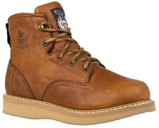 Georgia Men's Wedge Lace Up Leather Ankle Work Boots Barracuda Gold G6152