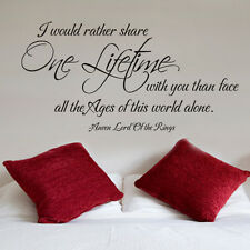 Romantic Love Wall Decal Lord of the Rings One Lifetime Movie Quote Vinyl Decor