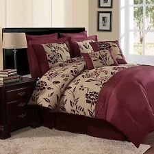 NEW Bed Bag King Queen 8 pc Burgundy Red Gold Floral Comforter Deco Pillows Set