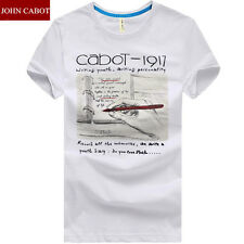 New Men Basic Pattern TEE T-Shirt Crew Neck Solid Color Cotton Top Blouse Short