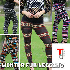 Women Fur Lined Leggings Snow Flake Reindeer Print Winter Thick Stretch Pants