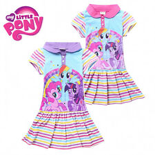 New Kids Girls My Little Pony Short Sleeve Fairy Rainbow Striped Dress 3~8Years