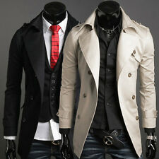 Fashion Mens Long Trench Coat Double Breasted Pea Coat Winter Jacket Overcoat