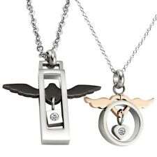 """""""Angel of Love"""" Stainless Steel CZ Couple Charm Pendant Necklace Chain GX512"""