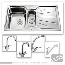 1.5 Bowl Stainless Steel Kitchen Sink & Complete Plumbing Kit-Choice of USS Taps