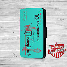 Turquoise Disney Land Vintage Ticket Leather Wallet Case For iPhone and Galaxy