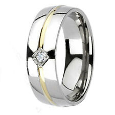 Mens TITANIUM Gold Inlay 8MM Engagement Wedding Anniversary Band Ring His CZ