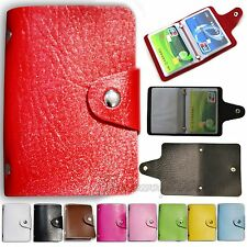 Men Women PU Leather Business Pocket Credit ID Card Holder Wallet Purse Case Bag