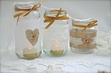 Make Your Own Shabby Chic Vintage Wedding Decorated Glass Jar Tea Light Holders