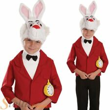 Boys White Mister Rabbit Alice In Wonderland Book Day Fancy Dress Costume Outfit