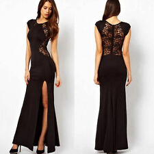 Womens Hot Sexy High Slit  Bodycon Sheath Party Clubwear Maxi Evening Gown Dress