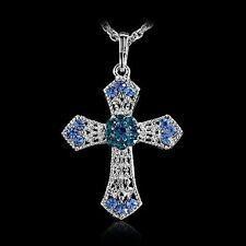 2017 New Silver Rhinestone CROSS With Sweater Crystal Pendant Necklace Gifts