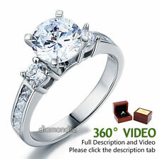 2 Ct Round Lab Created Diamond 925 Sterling Silver 3-Stone Ring Bridal Wedding