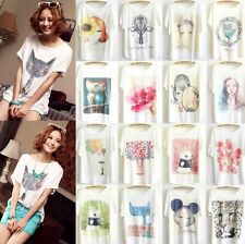 Women short sleeve Loose Casual T shirt Tops Blouse Print Animal Plus Size Tee