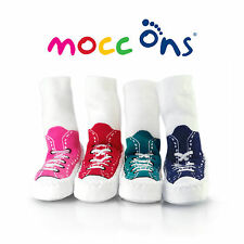 """""""Mocc Ons"""" the Clever Little Slipper Socks Keeps Baby's Toes Warm; 12-18 Months"""