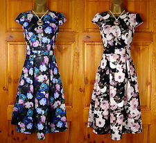 NEW DOROTHY PERKINS BLACK BLUE PURPLE PINK CREAM FLORAL SUMMER TEA DRESS UK 8-20