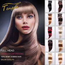 """15"""" Clip In 100% Remy Real Human 7Pcs Hair Extensions THIN 70G 15 Colors"""