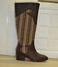 Twiggy London Riding Boots Leather & FabricTall Shaft Brown Aztec Pattern New