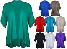 Ladies Cardigan Short Sleeve Open Waterfall Womens Stretch Top Plus Size 12 - 26