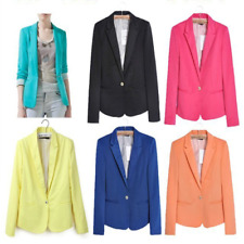 New Women Fashion Candy Color One Button Casual Slim Suit Blazer Jacket Coat