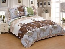 3Pc Paisley Queen King Size 100% Polyester Bedspread Quilt Set Coverlet Ensemble