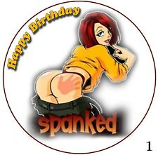 Adult Cartoon sexy spanked 20th 30th 40th 50th Birthday funny Gift edible cake