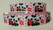 Grosgrain Ribbon, Adorable Panda Bears with Red Hearts, Flowers Pink Heart, 7/8""