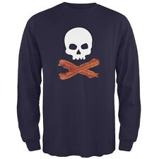 Bacon Skull And Crossbones Navy Adult Long Sleeve T-Shirt