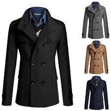 Mens Stylish Wool Peacoat Warm Parka Trench Coat Winter Jacket Casual Outerwear