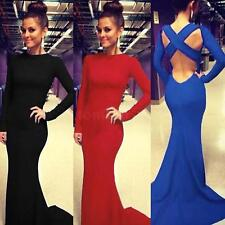 Fashion Women Cross Backless Floor-length Prom Gown Evening Party Mermaid Dress