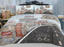 Retro Route 66 Vintage Nostalgic Taupe King or Queen Quilt Doona Cover Set Male
