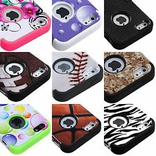 For iPhone 5 - Hard & Soft Rubber Hybrid Armor High Impact Skin Case Cover