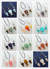 XJ-528 Wholesale! Mixed Gemstone Carved Angel Necklace Earring Set