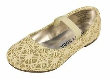 Scoly-2Q! Soda Kid's Girly Mary Jane Slip On Flat Baby Shoes Beige Glitter Lace