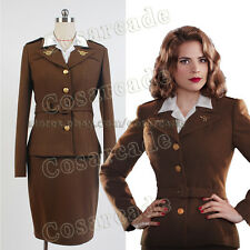Captain America Agent Margaret/Peggy Carter Dress Cosplay Costume Uniform Suit