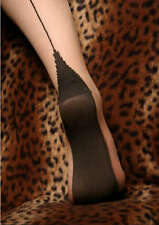 Seamed Stockings with Point Heel and Contrast Seam Nude/Black