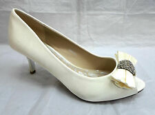 LADIES OCCASION IVORY SATIN PEEP TOE DIAMANTE BRIDAL WEDDING PARTY SHOES DIANA