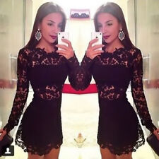 Women's Floral Print Long Sleeve Crew Neck Sexy Hollow Lace Cocktail Mini Dress