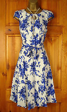 NEW DOROTHY PERKINS BLUE IVORY WHITE VINTAGE 50s STYLE FLORAL SUMMER TEA DRESS