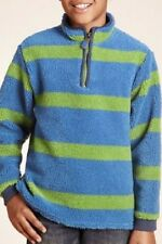 BOYS GREEN AND BLUE FUNNEL NECK THICK POLAR/BORG FLEECE TOP JUMPER FROM M&S BNWT