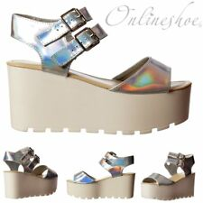 Womens Girls Chunky Wedge Cleated Sole Summer Sandals Silver Hologram Size New