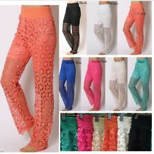 SEXY BOHO HIPPIE BOHEMIAN TRIBAL BELLY DANCING LACE GYPSY RETRO INDIE PANTS